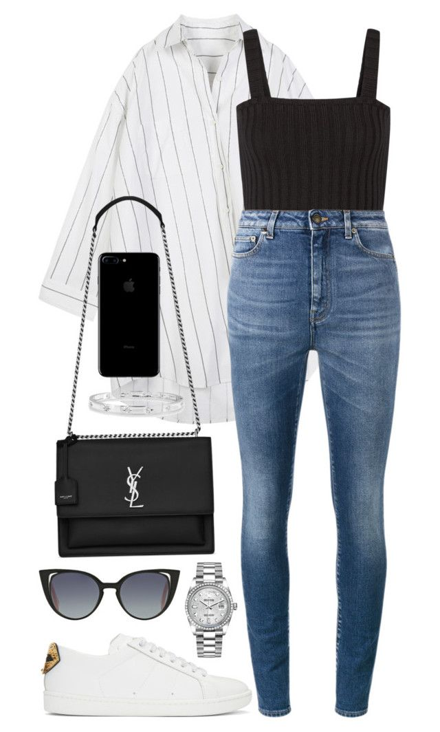 """Untitled #404"" by naomiariel ❤ liked on Polyvore featuring Yves Saint Laurent, Valentino, Rolex, Anne Sisteron and Fendi"