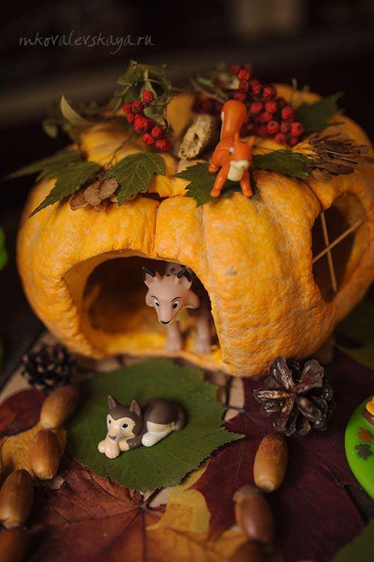 Kids fall craft idea - pumpkin house