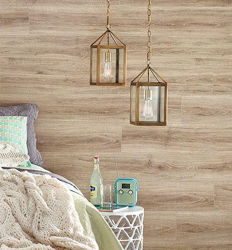 Esperanza Oak laminate flooring on walls bedroom horizontal install