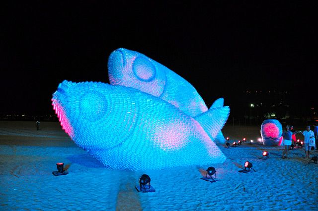 Giant Fish Sculptures Made from Discarded Plastic Bottles in Rio