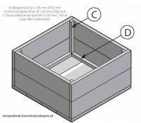 Doe het zelf voorbeeld op bouwtekening voor een lage tafel van steigerhout.