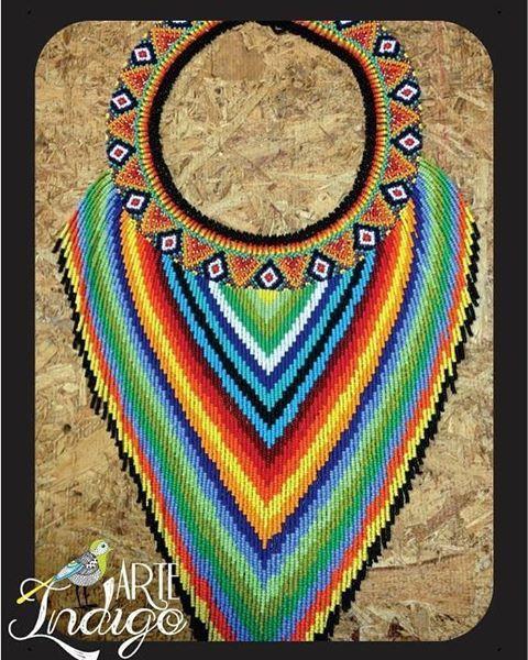Collar Okama lluvia https://www.facebook.com/arteindigo.co/  Whatsapp: 3012251255 #collares #collar #okama #artesanía #art #mostacilla #visuteria #joya #ancestral #prenda #artesanias #huícholt
