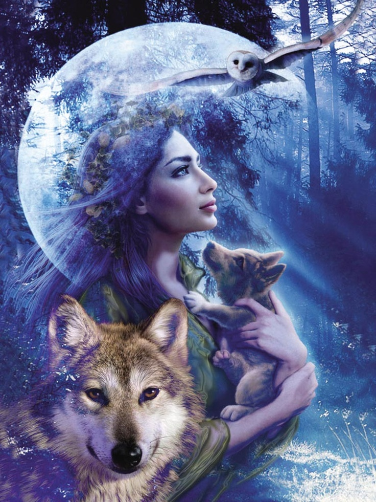 Vrouw met wolven