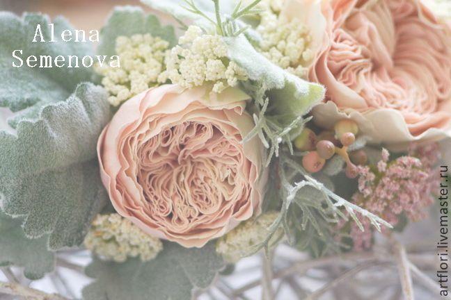 Купить Венок для невесты в рустикальном стиле. - бежевый, персиковый, зеленый, венок, зелень, рустик
