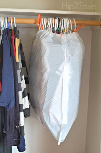 Tip #10: Use a trash bag to quickly pack hanging clothing. I used this method to pack my kid's clothes and they were a breeze to unpack.