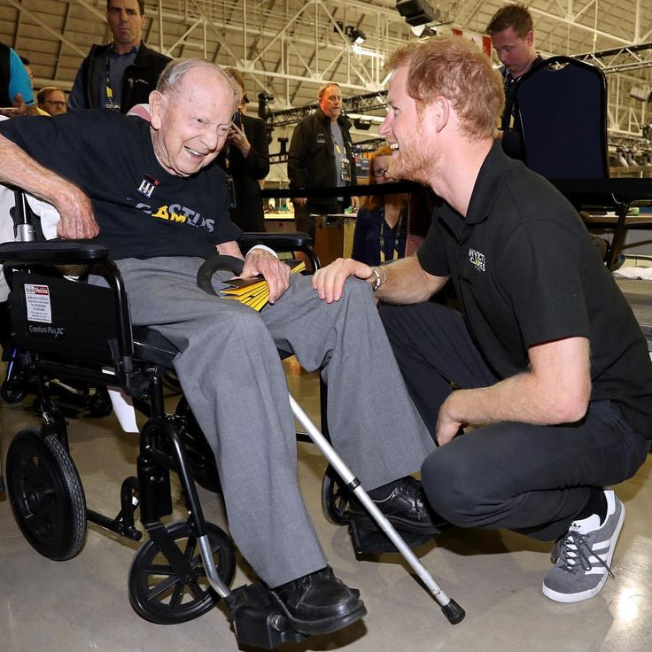 Prince Harry meets 101-year-old WW2 veteran James Norman Baker after he gave an emotional tribute to the crowd about the importance of the Invictus Games. via ✨ @padgram ✨(http://dl.padgram.com)