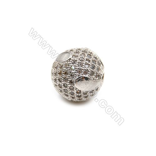 Brass Plated Platinum Beads, CZ Micropave, Round, Size 12mm, Thick 12mm, 5pcs/pack