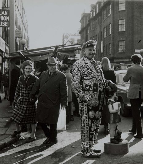 Petticoat Lane Market, East End London, 1960, with a Pearly King !