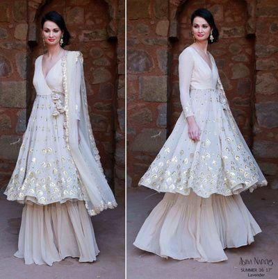 Sufi night outfit , sharara , White layered sharara , angrakha  silhouette