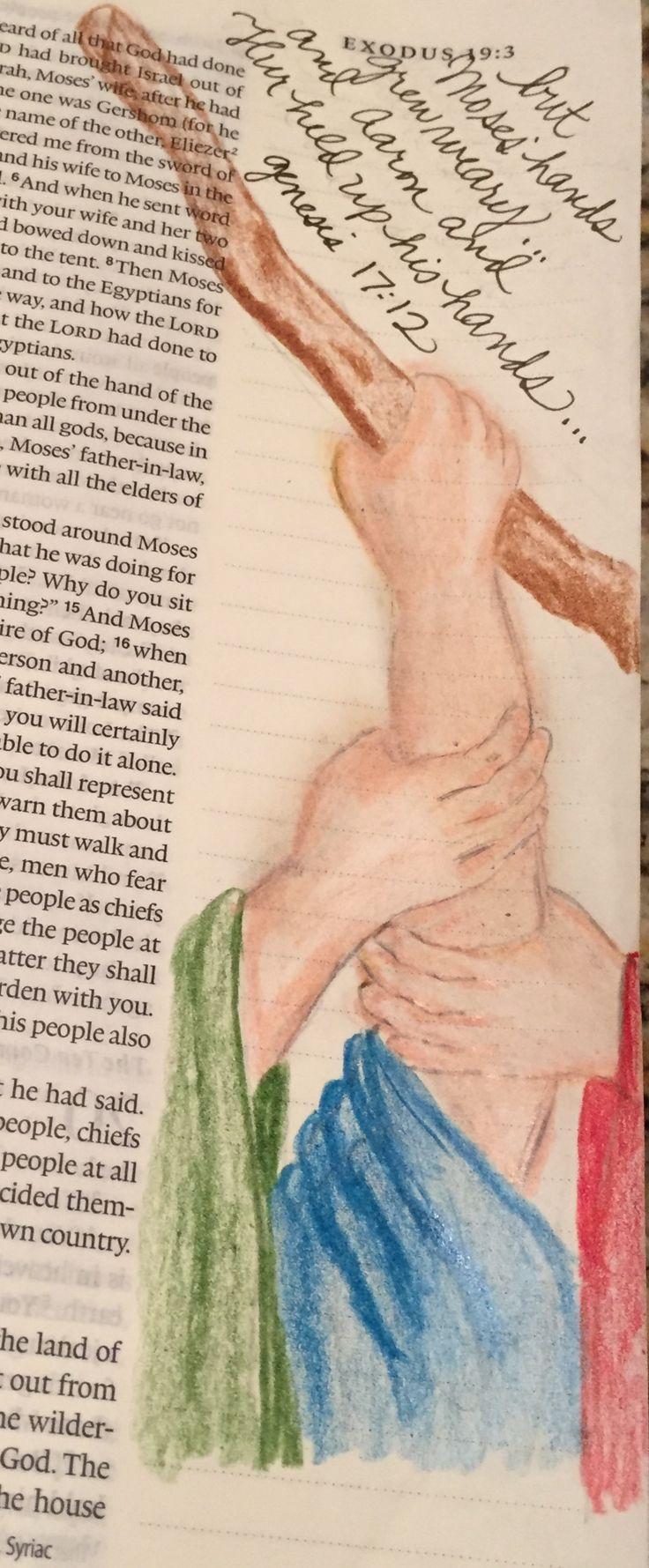 Exodus 17:12  Moses Aaron and Hur Bible Journaling