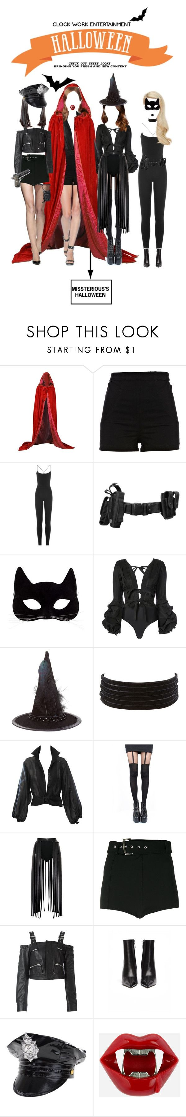 """""""«CLOCK WORK HALLOWEEN - MISSTERIOUS'S COSTUMES»"""" by cw-entertainment ❤ liked on Polyvore featuring River Island, Valentino, Johanna Ortiz, Accessorize, Charlotte Russe, YSL RIVE GAUCHE, Pretty Polly, Versus, Diesel Black Gold and Balenciaga"""
