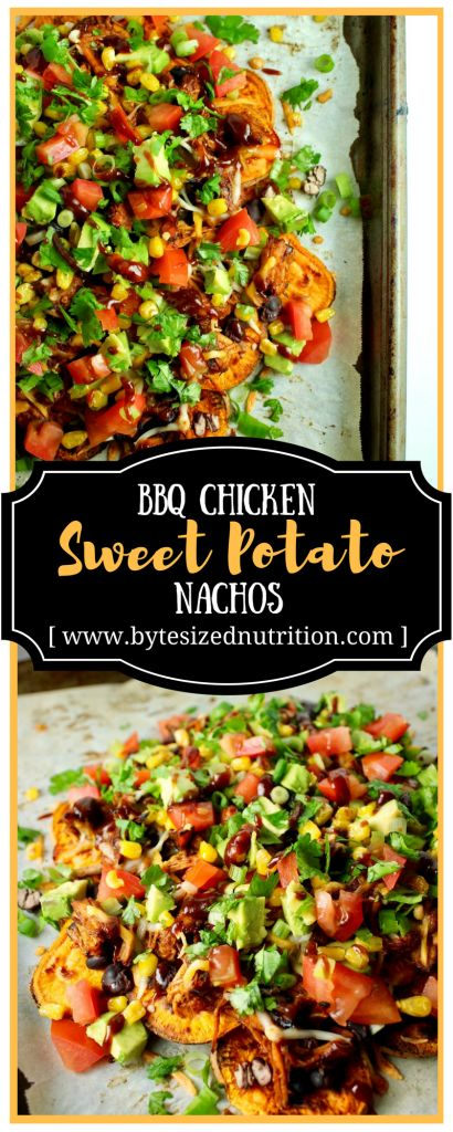 BBQ Chicken Sweet Potato Nachos are a hassle-free appetizer or entree that's perfect for game day.. or any day! www.bytesizednutrition.com