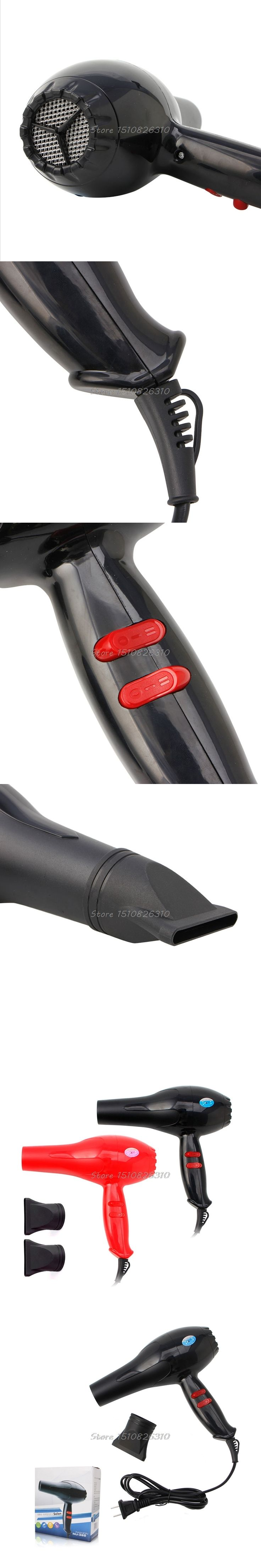 Black/Red 1Set Professional Hair Drier 1600W Hair Blower Dryer Bolw Heat and Cold Wind #E207Y# Hot Sale