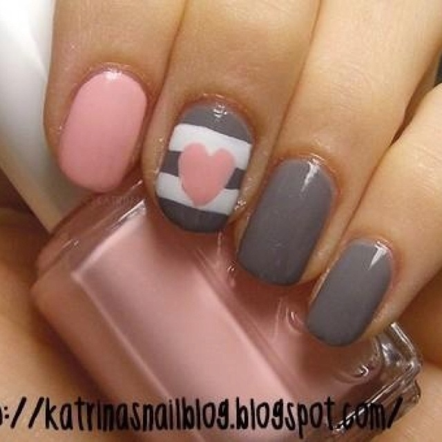 Best 25 pink grey nails ideas on pinterest matt nails lady pink and gray nail art with heart nails prinsesfo Image collections