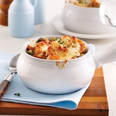 Soupe de poireaux gratinée au cheddar fort - Entrées et soupes - Recettes 5-15 - Recettes express 5/15 - Pratico Pratique