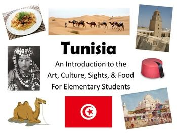 """""""Tunisia: An Introduction to the Art, Culture, Sights, and Food"""" is a great slideshow to show elementary students at the beginning of a unit on Africa or the Middle East. It puts the country in perspective for K-5 students and gives them an overview on some of the highlights of Tunisia."""