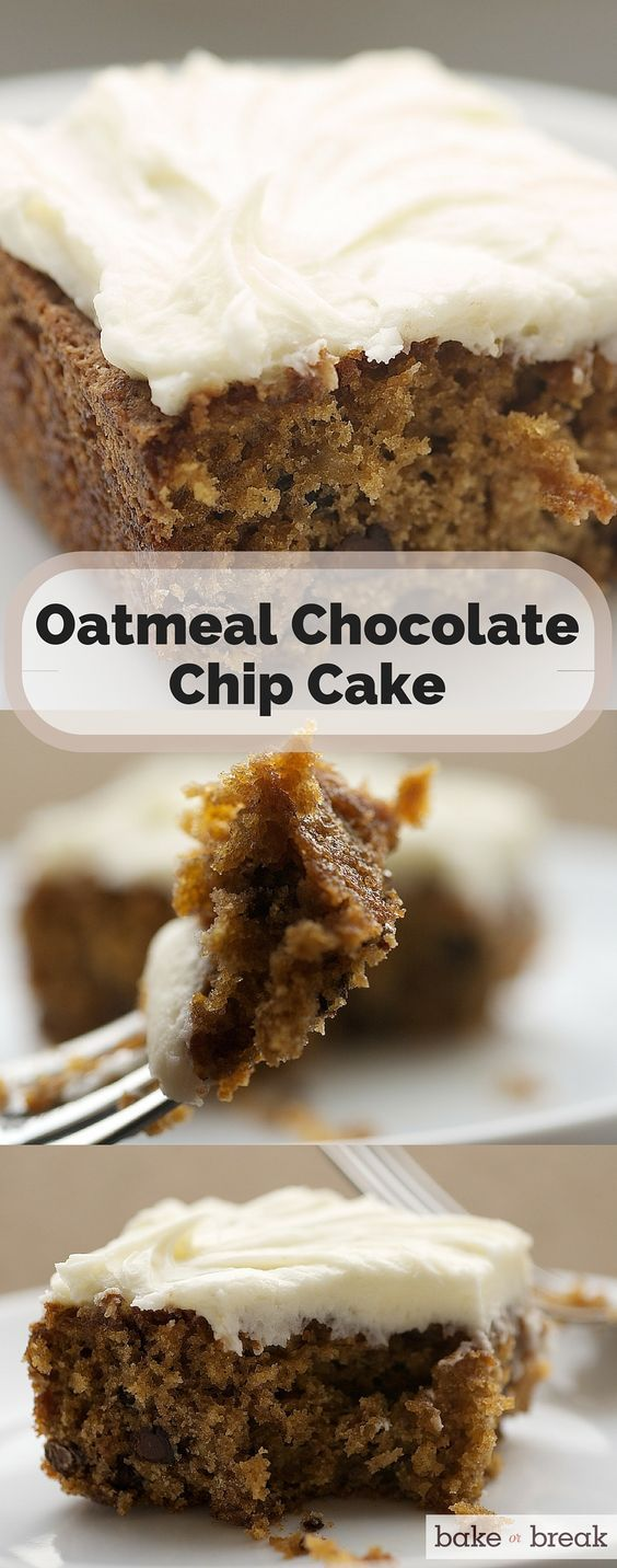 Oats, chocolate, and cream cheese make this Oatmeal Chocolate Chip Cake absolutely delicious! ~ http://www.bakeorbreak.com