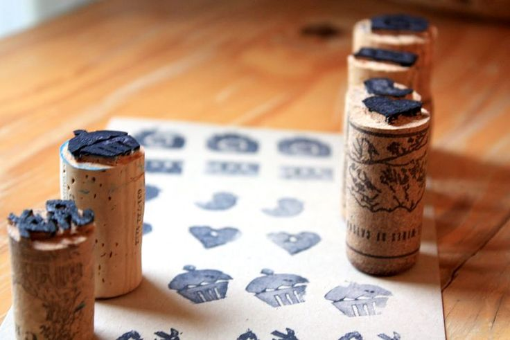 Sellos con corchosDiy Ideas, Sweets Spots, Projects, Diy Stamps, Crafts Ideas, Wine Corks, Diy Corkstamp, Crafty Side, Corks Stamps