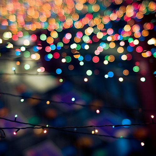 Twinkly lights in the dark. These ones remind me of Christmas with the different colors. We use to drive around and look at the beautifully   decorated houses. <3 Vivayne