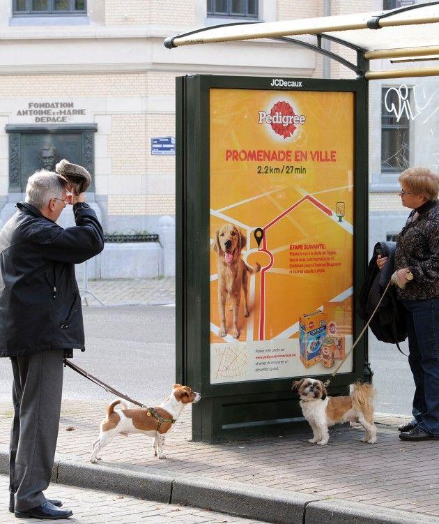 Quand #Pedigree propose un #parcours pour promener votre #chien en ville en retrouvant les #abribus encartés! Good idea!