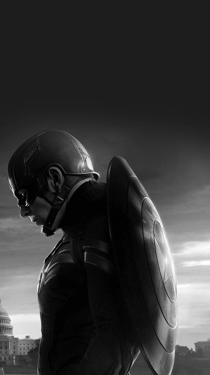 CAPTAIN AMERICA SAD HERO FILM MARVEL DARK BW WALLPAPER HD IPHONE
