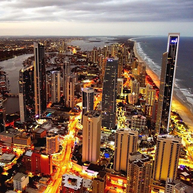 Incredible shot of the gorgeous Gold Coast at night taken from the top of the Q1 Tower.