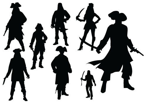 Pirates Standing in Different Poses Silhouette. #Pirates #Poses #silhouette