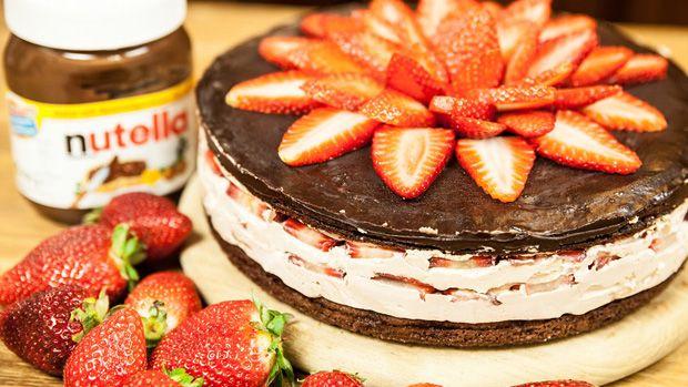 Nutella-Torte mit Erdbeeren - genial gut!