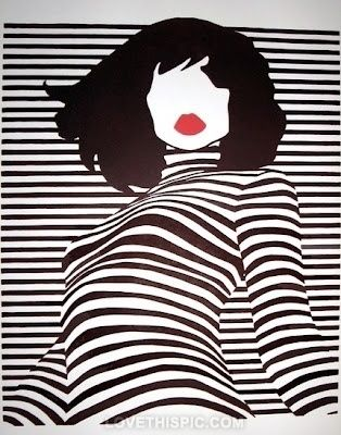 Striped Art black and white lips red art black artistic white stripes woman illustration
