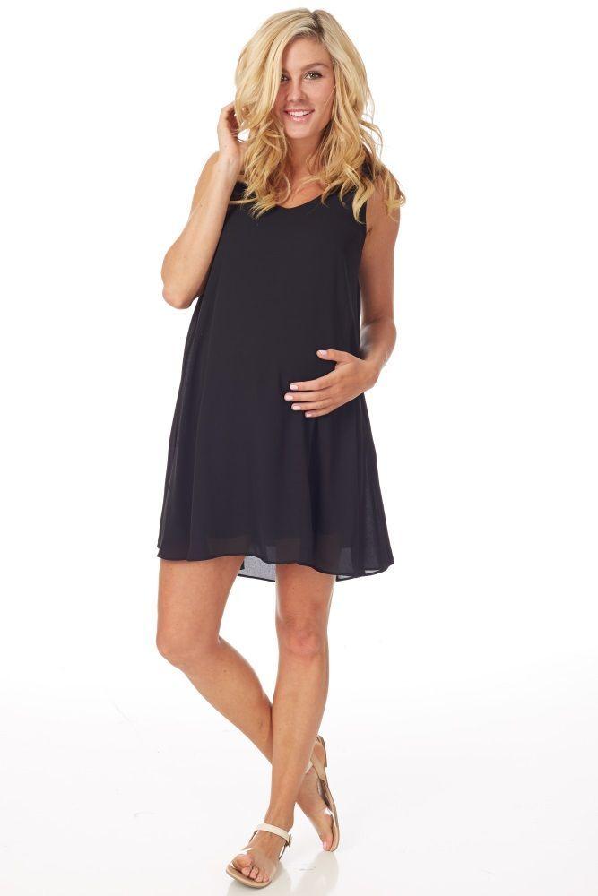 ea288ce9ad7a08 Basic Black Chiffon Maternity Dress - Maternity Dresses to Wear During  Pregnancy - Baby Bump Fashion