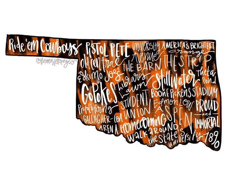 Oklahoma State Cowboys Typography Printable Instant Download Wall Art, Go Pokes Football, Orange and Black, College football, Stillwater by ThomasLetteringCo on Etsy https://www.etsy.com/listing/475485004/oklahoma-state-cowboys-typography