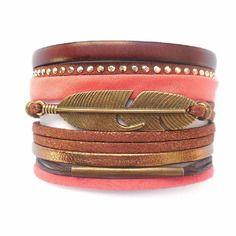 Bracelet manchette cuir marron et cordon tissu corail