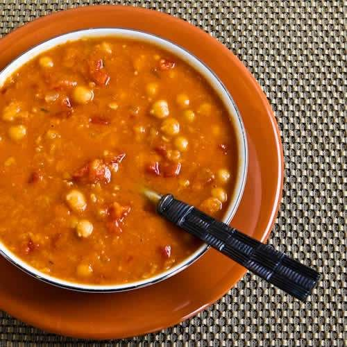 This delicious slow-cooker soup has red lentils, chickpeas, tomatoes, and smoked paprika; from Kalyn's Kitchen via Slow Cooker from Scratch.  (Make it vegan by using vegetable stock.)