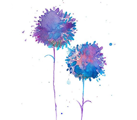 Purple Dandelion Watercolor Print, Watercolor Painting Flower, Watercolor Art Print, Wall Art, Wall Decor