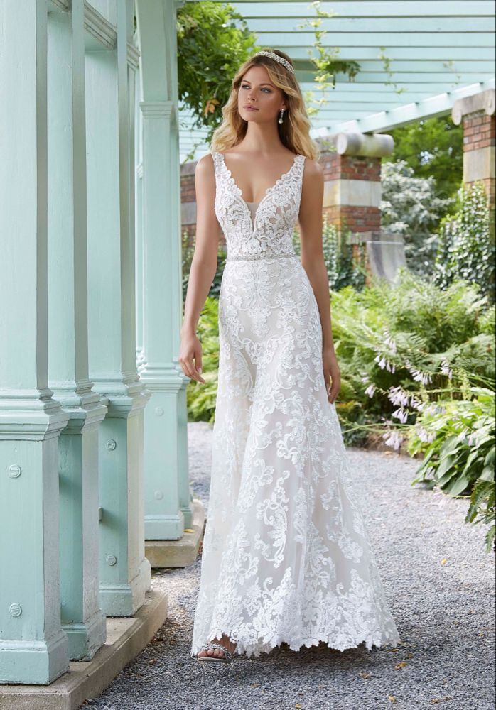 Morilee 2025 Pauline V-Neckline Illusion Top A-Line Wedding Dress