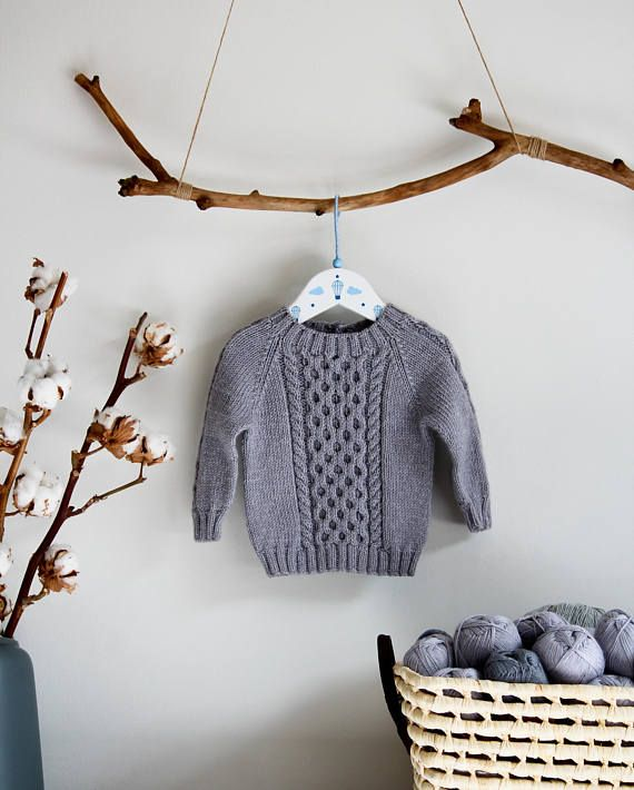 Baby knit sweater/ Knit baby sweater/ Hand knitted merino sweater This cable knit sweater will give a stylish look to your little one and at the same time will keep him or her warm and comfortable. It is light and breathable. The sweater is crafted from 100% natural merino wool, a soft and