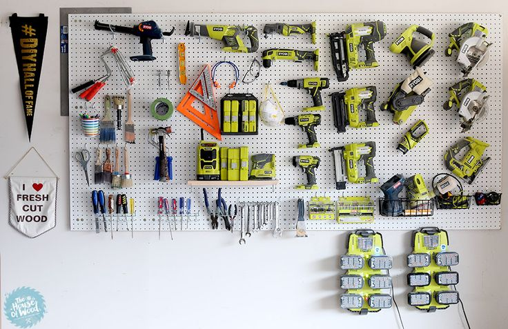 How to organize the tools in your garage by mounting pegboard on the wall. Easy tutorial by Jen Woodhouse of The House of Wood.