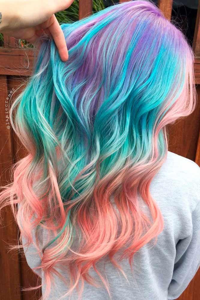unique pastel rainbow hair