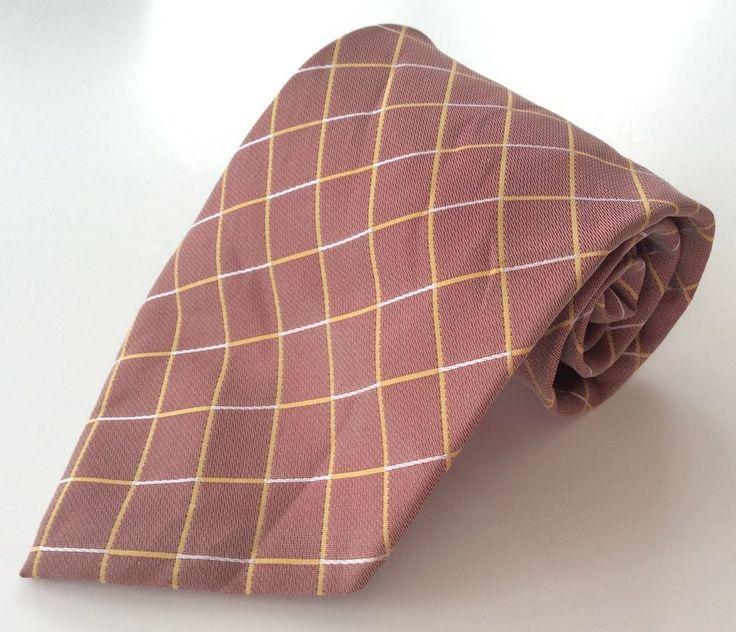 Cheri Copain Italy Mode Neck Tie Pink Yellow White Plaid 100% Polyester #Belisi #NeckTie