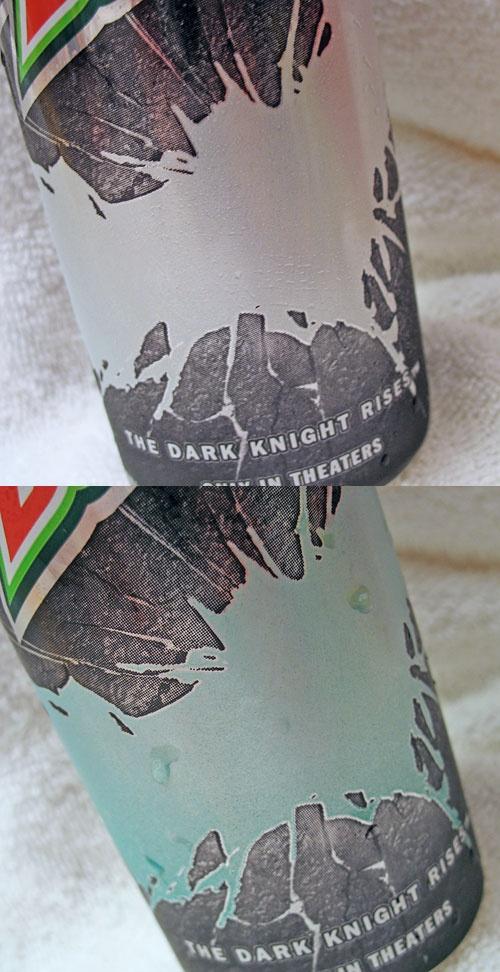 Comparison of warm vs. cold color change on 16 oz Mountain Dew Batman cansDark Knight