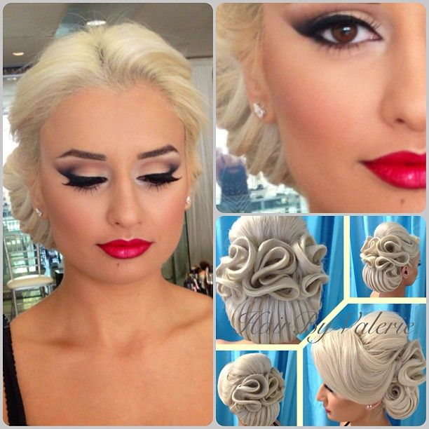 MakeUp by Anna. BEAUTIFUL classic smokey eye and red lip. And that hair!!