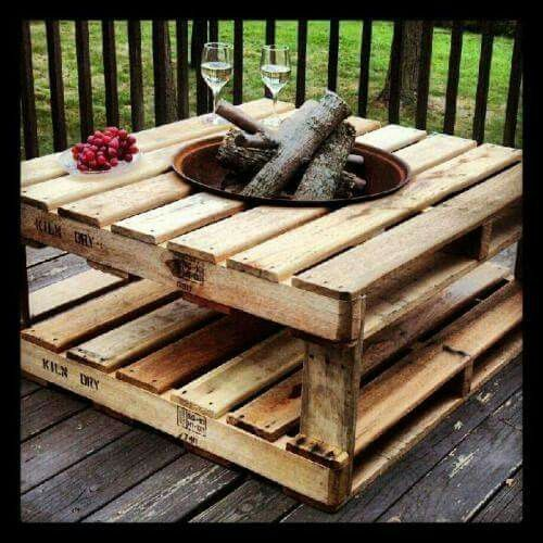 DIY Wine Table + Fire. Use an old kettle grill to make a fire table for your deck.  Use it for grilling too!  Crossmember supports needs to be added inside the upper pallet to stiffen it after the hole is cut out.  Just take the legs off of the kettle grill and drop right in.