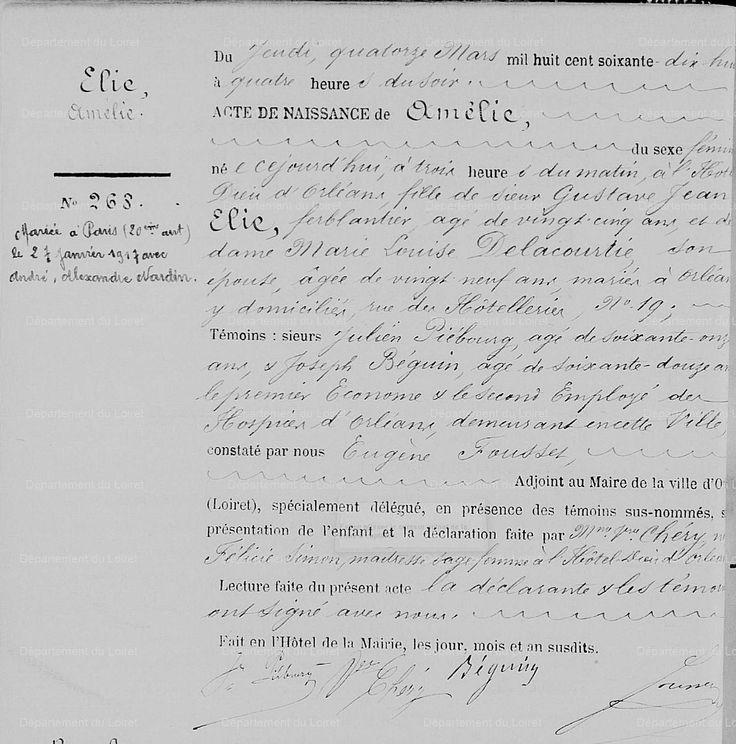 Acte de naissance d'Amélie ÉLIE, 1878, dite Casque d'Or, Orléans | Archives Départementales du Loiret (45) - cote EC 79228, vue 92