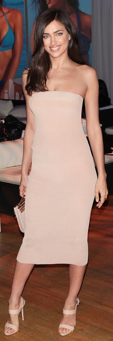 Who Irina Shayk's tan strapless dress and nude sandals?