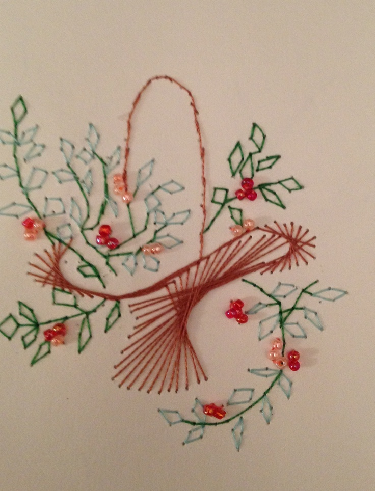 Flower basket stitching card by pamela turner stitched