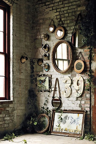 rustic wall mirrors / gallery wall #anthrofaves
