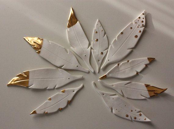 9 Potöpot Porzellan Keramik Federn Gold Ostern vo…