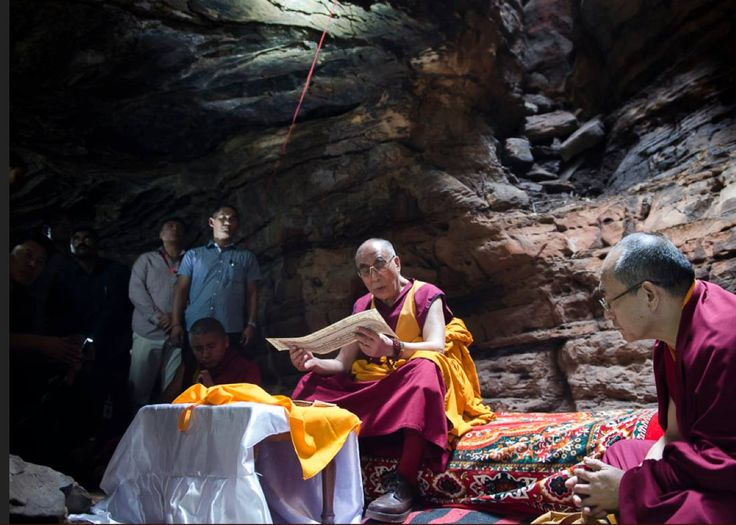 #dalailama His Holiness the DaLai Lama reciting a Buddhist text at the Chaanda Devi Caves where the Indian philosopher Nagarjuna meditated in Sirpur, Chattisgarh, India on January 14, 2014. (Photo by Tenzin Choejor/OHHDL)