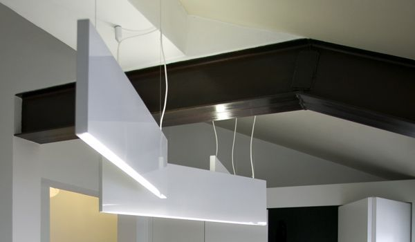 THIN steel lamp. KALIMERA. Reggio emilia. Design by AMORFO STUDIO