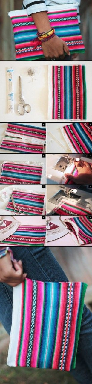 DIY Colorful Clutch Purse idea - from a blanket! How cute